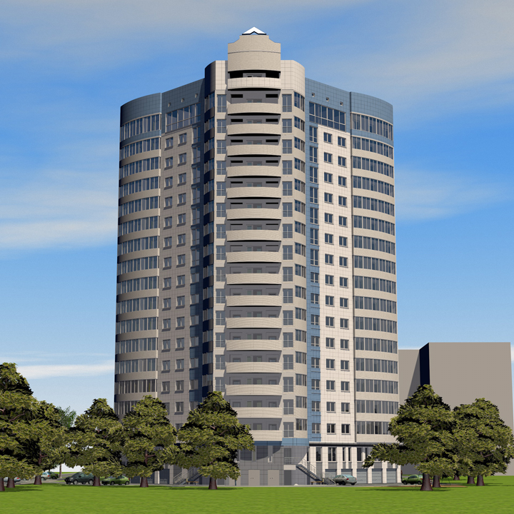 """BIM-проект: Многоквартирный жилой дом """"Олимп"""" со встроенными помещениями административного назначения и встроенной автостоянкой"""