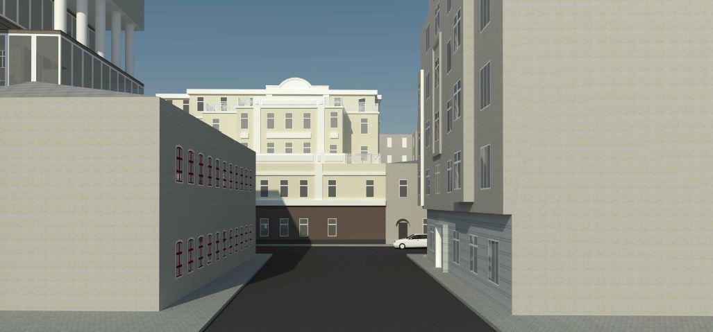 BIM-проект. Перспективное изображение №1 административно-офисного здания