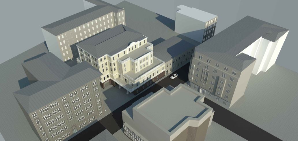 BIM-проект. Перспективное изображение №2 административно-офисного здания