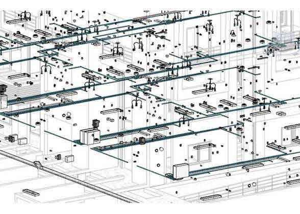 Фрагмент Bim-моделирования: система отопления с частичным отображением электроосвещения