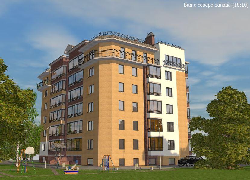 BIM-проект: фасад жилого дома (вид с северо-запада)