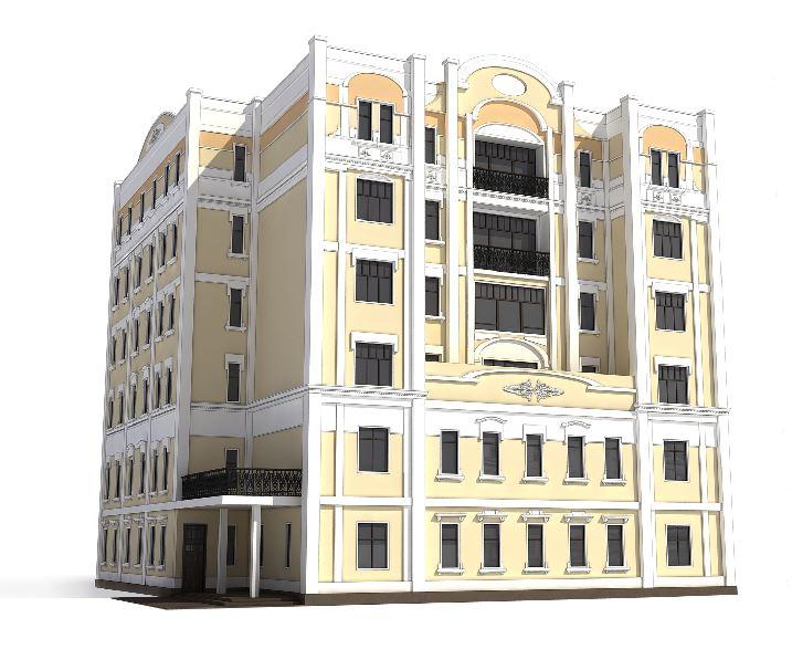 BIM-проект - реконструкция административно-офисного здания, архитектурные решения