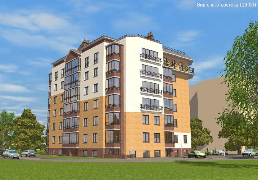 BIM-проект: фасад жилого дома (вид с юго-востока). Выразительность фасадов достигается за счет сочетания цветов и применения современных качественных отделочных материалов