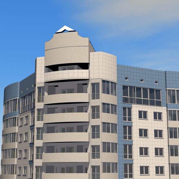 Фрагменты фасада, 3D визуализация