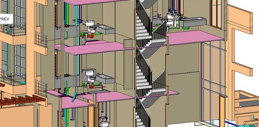 Строительные конструкции здания подобраны на основании выполненных расчетов на нагрузки и воздействия, возникающие в период его возведения и эксплуатации, в соответствии с требованиями СП 20.13330.2001.  Фрагмент Bim-моделирования: лестница, перекрытия, стены, отопление, вентиляция, канализация