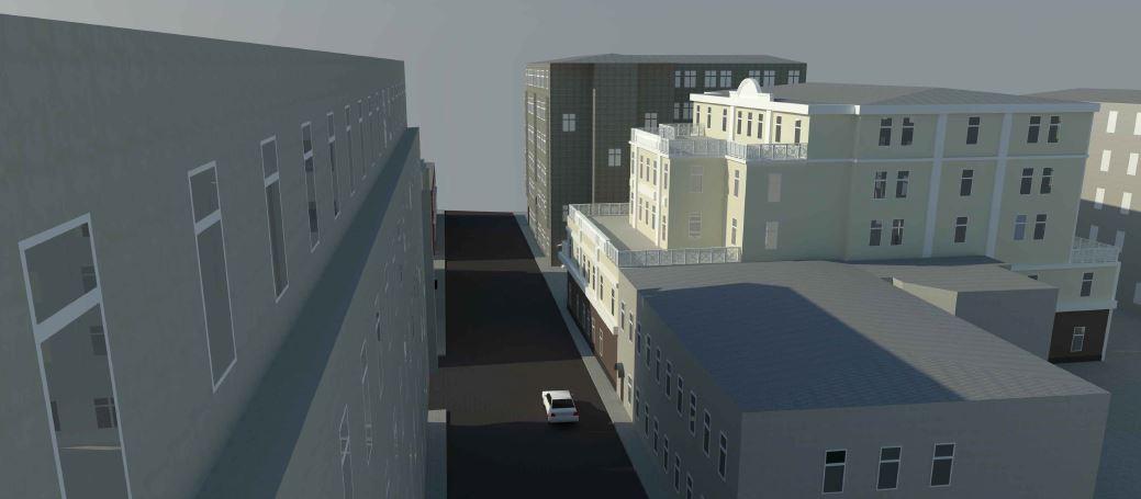 BIM-проект. Перспективное изображение №4 административно-офисного здания