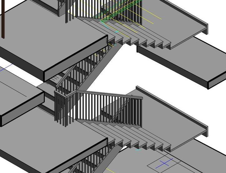 Фрагмент Bim-моделирования: 3D модель лестницы