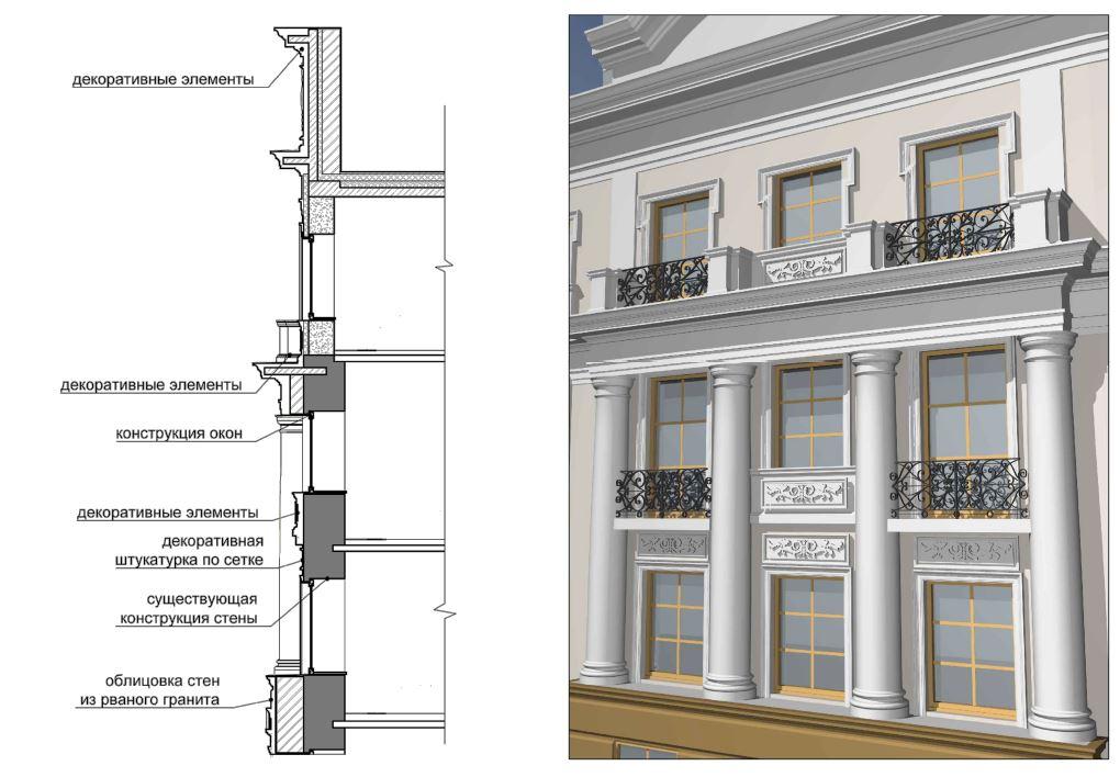 BIM-фрагмент фасада административно-офисного здания